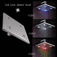 Cheap 8 inch overhead shower 62 brass temperature sensing 3 colors(blue,white,red) led shower head 160313#