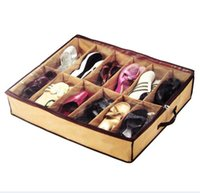 Wholesale Shoes Bag grid Foldable Shoes Storage Box Shoes Storage Organisers Holder Under Bed Shoes Organizer Opp package