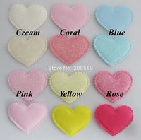 Wholesale PA0065 Beautiful Padded Patches Heart shape mm mm Assorted Colors stick on Felt for headwear accessories