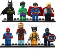 Wholesale Super Heroes The Avengers Iron Man Hulk Batman Wolverine Thor Building Blocks Sets Minifigure DIY Bricks Toys without package box set