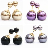 Wholesale New fashion double side stud earrings shell pearl round hot women girls charms jewelry B1076