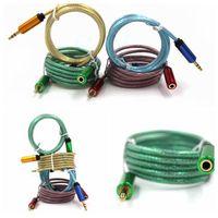 Wholesale colorful pvc jacket gold plated m braid waven metal plug mm M F audio aux av cable for car smartphone speaker