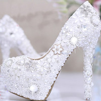 amazing bridal shoes - 2015 white Pearl Crystal Bridal Wedding Heels Debutante Ball Party Shoes High heeled Rhinestone Platform Amazing Prom Pumps