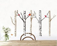 american birch - Set Large Birch Tree Birds Waterproof Pvc Wall Decals Stickers For TV Sofa Background Home Decor Wall Poster