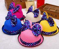 Cheap Children's Caps Fashion Cute Kids Baby Summer Outdoor Bucket Hats Cap Sun Beach Beanie Mickey Cat Ears Bow Sunscreen Hats TY17