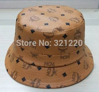 golf bucket hat - 2015 mcm hats New Arrived Korea Brand Leather Bucket Cap High Quality Hip Hop Fisherman Hat Drop Shipping