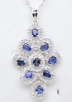 Wholesale Natural blue sapphire necklace pendant sterling silver Fine blue gemstone jewelry Perfect jewelry DH
