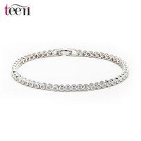 Wholesale Teemi Brand Women Luxury Platinum Plated Genuine Round Clear CZ Bridal Wedding Tennis Link Chain Bracelets
