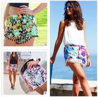 women ruffle pants - 2015 s floral flower print shorts Elastic Waist Tassel mini shorts ball edge pineapple flower pants Women Beach Bohemain Short Pants R0817