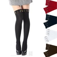 amazing boot - Amazing Women Rivet Over Knee Thigh High Socks Rivet Stocking Boot Long Cotton Stockings For Girls Ladies Women