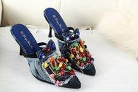 Wholesale Brand New Women Denim pumps Vintage metal decoration denim high heels pumps high quality canvas for women