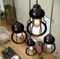 wrought iron - Loft vintage wrought iron pendant lights American Industrial style iron frame hanging lamp Dining room Lighting Fixture PL143