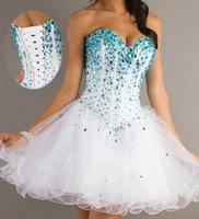 Tulle short strapless dress - 2015 New Ball Gown Strapless Sleeveless Sexy Sweetheart Blue Beads White Tulle Homecoming Party Cocktail Short Prom Dresses In Stock