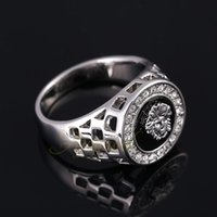 Cheap FG Size 7-12 New Man Ring 18K White Gold Plated Cool Black Stone Men Jewelry Fashion With Rhinestones