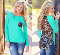 Wholesale 2015 fashion Sexy Fashion Women Loose Chiffon Leopard Tops Long Sleeve T Shirt Casual Blouse