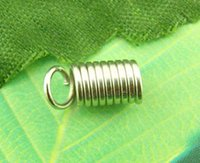 Wholesale Jewelry Findings Silver Tone Coil End Crimp Fasteners x10mm