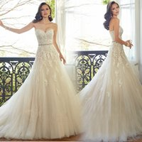 empire waist - Sexy Empire Waist A Line Wedding Dresses Sweetheart with Lace Appliques Bridal Gowns Backless Court Train Tulles Wedding Dress