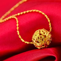 american transporter - Gold flower hollow bead necklace Women transporter classic with falling gold handmade jewelry authentic Yunnan Ethnic European currencies