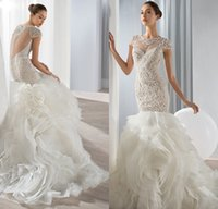 Cheap Gorgeous Wedding Dresses Cap Sleeve 2015 Lace Applique Covered Button Bridal Gowns Demetrios Bride Dress 2016 Much Ruched See Through Back