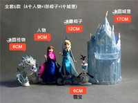 Wholesale Frozen Princess Castle Ice Palace Throne Play Set Elsa Anna PVC Model Toys Snowman Sven action Figure Doll girls gift Decoration cake