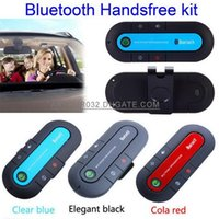Wholesale Wireless Stereo Universal Bluetooth V3 Car Kit Handsfree Speakerphone Headset With Car Charger for iPhone Samsung S6 HTC Black Blue Red
