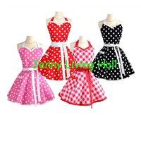 Wholesale 50s Vintage Apron Sweetheart Style Cotton Polka Dot Apron
