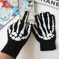 Fingerless Gloves autumn ghost - autumn and winter men and women s knitted warm gloves Halloween holiday party ghost bone cosplay gloves S312