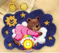 Wholesale DIY Needlework Kits Unfinished Crocheting Yarn Mat Latch Hook Rug Kit Floor Mat Blue Red Bear On Cloud Picture Carpet Set