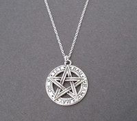 ancient goths - Tibetan Ancient Silver Pentagram Pendant Pentacle Necklace Goth Wicca Charm Supernatural Jewelry Gift