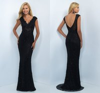 Wholesale Sexy Black V neck Prom Dresses With Capped Short Sleeve Beaded Backless Plus size Long Evening Formal Pageant Dress Gowns
