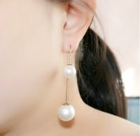 Wholesale 2015 NEW European Simulated Pearl Stud Copper Hook Style Drop Ball Earrings Scrub Cute Fashion Dangle Jewelry