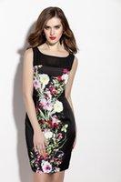 Wholesale European style large size summer dress printing gauze advanced fabrics round neck sleeveless ladies dress