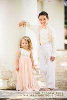 satin ribbon - Cute One Shoulder Flower Girl Dress Floor Length Chiffon Satin Wedding Party Dress Beading Ribbon Formal Occasion Dress BO6986