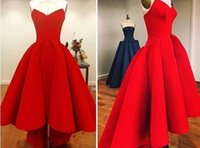 high low prom dresses - 2015 Bright Red Sweetheart Hi Lo Prom Dresses Satin Back Zipper Ruffles Gorgeous Sexy Girl Party Dress Evening Gowns High Low Affordable