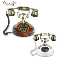 antique wood phones - New Arrive European Antique Telephone Solid Wood Rural Style Fashion And Lovely Telephone Landline Retro landline Phones
