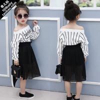 Wholesale 2015 spring Girls Korean Loose Shirts Kids Slach Neck Letters vertical stripes long Sleeve Jumper tshirts Kids clothes Children clothing