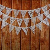 Nouveau 3.2M de 12 drapeaux Drapeaux en tissu de dentelle Décoration de mariée de personnalité Décoration de fête vintage Décoration de fête de garçon