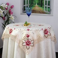 Wholesale Hot Sale cm Elegant Polyester Satin Jacquard Embroidery Floral Tablecloths Cutwork Handmade Embroidered Table Cloth Topper