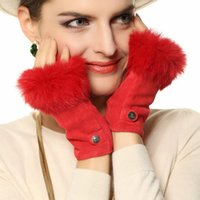 Wholesale Fashion Limited Women Fingerless Mitten Wrist Rabbit Hair Solid Real Genuine Lambskin Leather Gloves El019nc