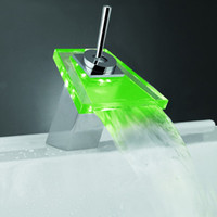 bathroom vanity - LED LIGHT square Glass Waterfall Bathroom Basin FAUCET chrome polished mixer vanity torneira banheiro cozinha hansgrohe