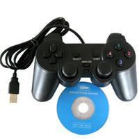 Precio de Joystick usb-La PC caliente de la venta ató con alambre el Joypad del juego del USB Joypad Controlador del juego con la ayuda doble XP / Win7 del choque para el ordenador portátil de la PC