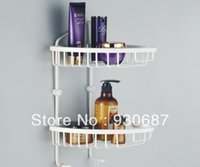 bathroom floor paint - White Painting Finish Double Tier Bathroom Shelf Holder Racks Corner Install Wall Mounted
