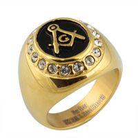 Wholesale stainless Masonic Memorial Ring men religion ring RC