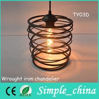 Wholesale 2015 Promotion Lustre Vintage Pendant Light Loft Wrought Iron Chandelier metal Cage Lamp indoor decoration Ty03d