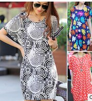 Wholesale 2015 Pregnant women skirt ice silk cotton dress in summer South Korea fashion print dress Big yards loose dress