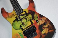 Wholesale Super electric guitar the mummy s head cover double black hardware skeleton fingerboard Mosaic