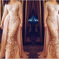 Cheap 2016 Cheap Mermaid Lace Evening Dresses Long Sleeves Jewel Neckline Handmade Flowers Count Train Evening Gowns Inspired by Zuhair Murad