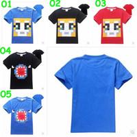 5 colores de manga corta camisas Minecraft camisetas Minecraft niño T muchacho de la historieta del verano rematan las camisas de algodón Minecraft Roupas Meninos Tees
