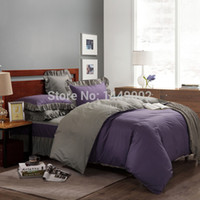 bedskirts for queen beds - European Style Bedding Sets Cotton Purple and Gray With Bedskirts Duvet Cover Pillowcase For Full Queen Size