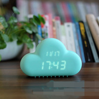 alarms holiday - Original Muid Design Cloud Alarm Clock Digital Geometric Mint Voice activated LED Wall Clock Luminous Cartoon Cloud Alarm Clock